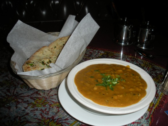 Kulcha club: Lobhia (right) and onion flatbread