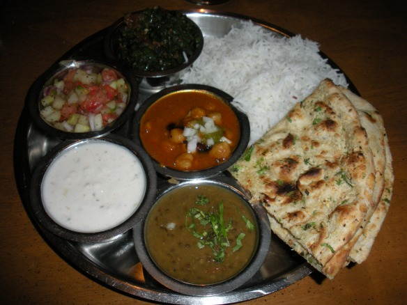 Hello, Thali! With cholas (center) and green beans (top)