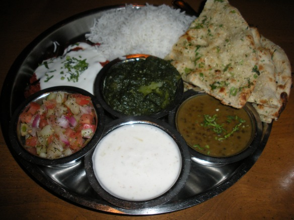 Thali Two: With palak aloo (center) and eggplant deva (top left)